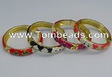 CEB60 9mm width gold plated alloy with enamel bangles wholesale