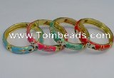 CEB62 9mm width gold plated alloy with enamel bangles wholesale