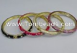 CEB67 6mm width gold plated alloy with enamel bangles wholesale