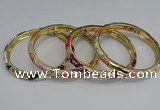 CEB69 6mm width gold plated alloy with enamel bangles wholesale
