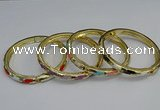 CEB72 6mm width gold plated alloy with enamel bangles wholesale