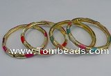 CEB73 6mm width gold plated alloy with enamel bangles wholesale