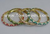 CEB74 6mm width gold plated alloy with enamel bangles wholesale