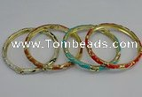 CEB78 5mm width gold plated alloy with enamel bangles wholesale