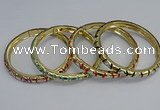 CEB85 7mm width gold plated alloy with enamel bangles wholesale