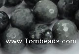 CEE24 15.5 inches 18mm faceted round eagle eye jasper beads wholesale