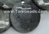 CEE41 15.5 inches 40mm faceted coin eagle eye jasper beads wholesale