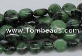 CEP10 15.5 inches 10mm flat round epidote gemstone beads