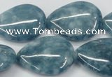 CEQ108 15.5 inches 22*30mm flat teardrop blue sponge quartz beads