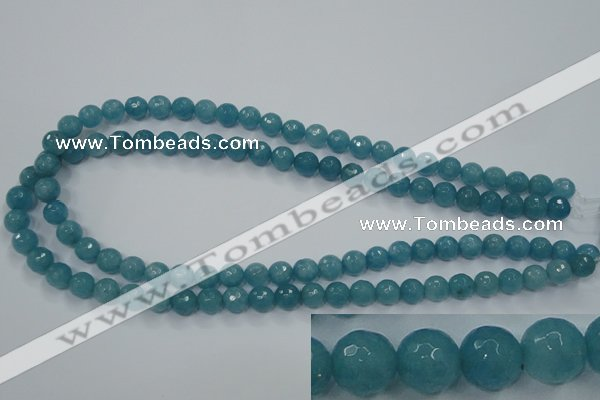 CEQ14 15.5 inches 8mm faceted round blue sponge quartz beads