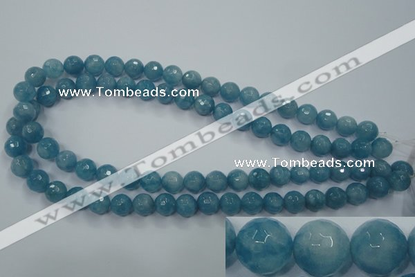 CEQ15 15.5 inches 10mm faceted round blue sponge quartz beads