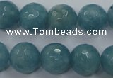 CEQ17 15.5 inches 14mm faceted round blue sponge quartz beads
