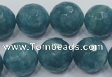 CEQ19 15.5 inches 18mm faceted round blue sponge quartz beads