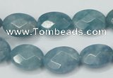 CEQ192 15.5 inches 12*16mm faceted oval blue sponge quartz beads