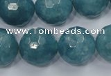 CEQ20 15.5 inches 20mm faceted round blue sponge quartz beads