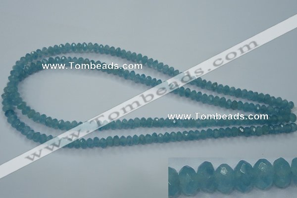 CEQ32 15.5 inches 4*6mm faceted rondelle blue sponge quartz beads