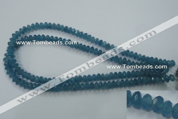 CEQ33 15.5 inches 5*8mm faceted rondelle blue sponge quartz beads