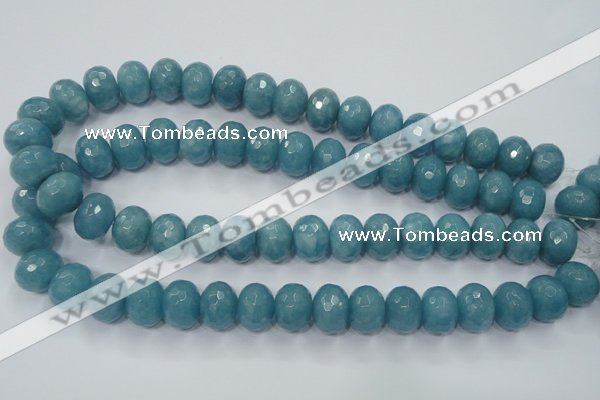 CEQ37 15.5 inches 12*16mm faceted rondelle blue sponge quartz beads