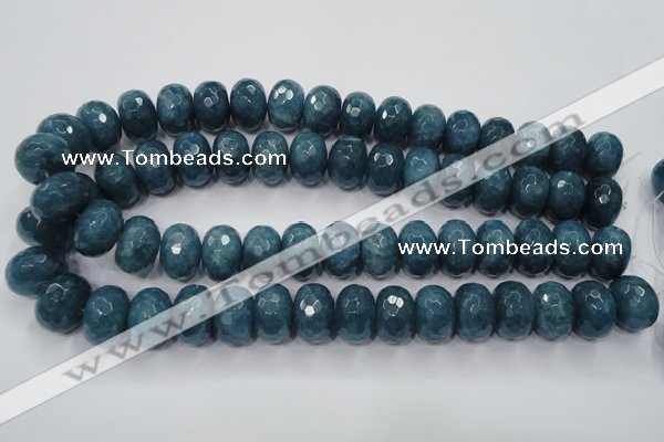 CEQ38 15.5 inches 13*18mm faceted rondelle blue sponge quartz beads