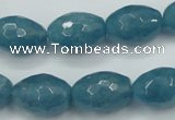 CEQ74 15.5 inches 13*18mm faceted rice blue sponge quartz beads