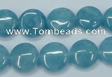 CEQ94 15.5 inches 14mm flat round blue sponge quartz beads