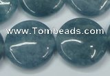 CEQ98 15.5 inches 25mm flat round blue sponge quartz beads