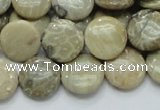 CFA07 15.5 inches 15mm flat round chrysanthemum agate gemstone beads