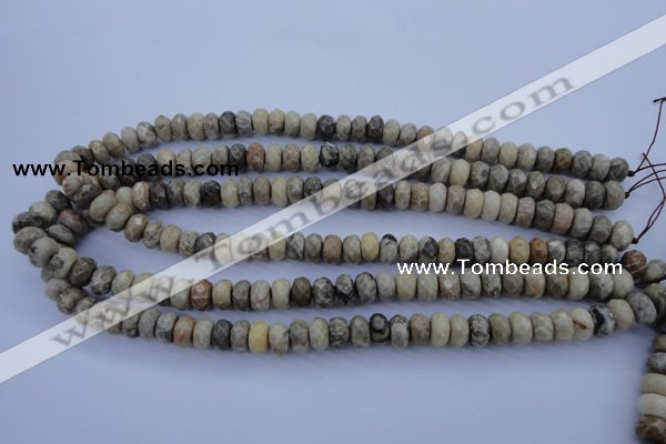 CFA210 15.5 inches 6*10mm faceted rondelle chrysanthemum agate beads