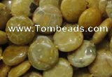CFA42 15.5 inches 15mm flat round yellow chrysanthemum agate beads