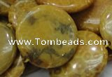 CFA45 15.5 inches 30mm flat round yellow chrysanthemum agate beads
