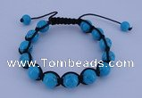 CFB511 10mm round turquoise beads adjustable bracelet wholesale