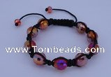 CFB521 12mm faceted round crystal beads adjustable bracelet wholesale