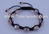 CFB522 12mm faceted round crystal beads adjustable bracelet wholesale