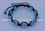 CFB524 12mm faceted round crystal beads adjustable bracelet wholesale