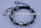CFB525 12mm faceted round crystal beads adjustable bracelet wholesale