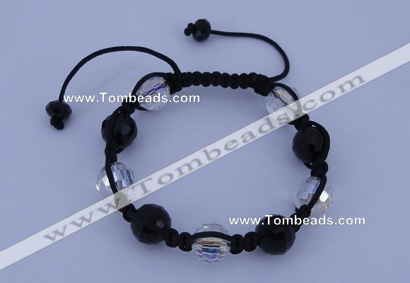 CFB528 12mm faceted round crystal beads adjustable bracelet wholesale