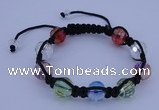 CFB529 12mm faceted round crystal beads adjustable bracelet wholesale