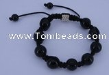 CFB549 12mm round black agate with alloy beads adjustable bracelet