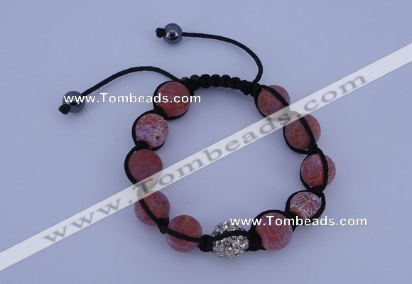 CFB551 12mm round agate with rhinestone beads adjustable bracelet