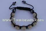 CFB555 10mm round rhinestone with hematite beads adjustable bracelet