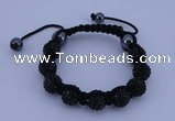 CFB556 10mm round rhinestone with hematite beads adjustable bracelet