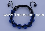 CFB558 10mm round rhinestone with hematite beads adjustable bracelet