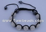 CFB560 12mm round rhinestone with hematite beads adjustable bracelet