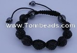 CFB561 12mm round rhinestone with hematite beads adjustable bracelet