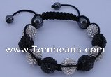 CFB562 12mm round rhinestone with hematite beads adjustable bracelet