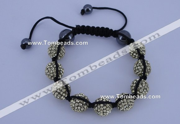 CFB563 12mm round rhinestone with hematite beads adjustable bracelet