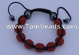 CFB564 12mm round rhinestone with hematite beads adjustable bracelet