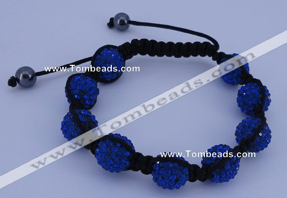 CFB566 12mm round rhinestone with hematite beads adjustable bracelet