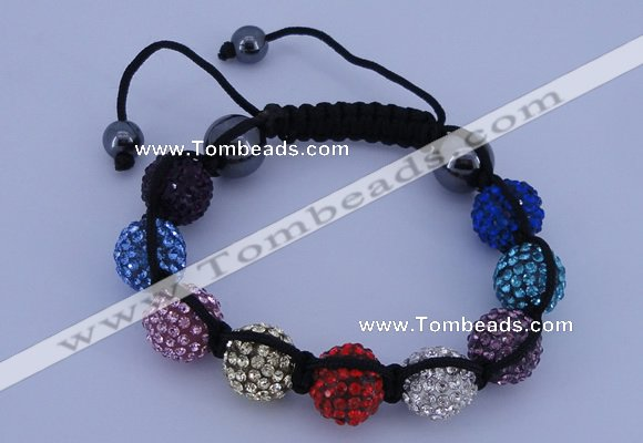 CFB567 12mm round rhinestone with hematite beads adjustable bracelet
