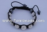 CFB570 10mm round rhinestone with hematite beads adjustable bracelet